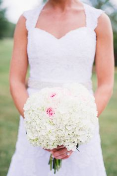 White HYDRANGEAS - Rockmart Wedding at Spring Lake from Brita Photography