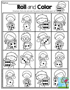 Roll the die and color the picture that matches your roll! HOW FUN and a great way to build number sense!