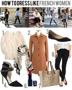 Dress like a French woman - beautiful blouse, structured coat, simple black flat or amazing heels, pretty scarf (ALWAYS a scarf), bold red lips, leopard bag, black skinny pants shopping.downjacketshoponline.com $190 #WhatSheWants Do Not Lose The Chance To Own Moncler jacket With A Low Price