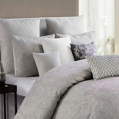 The washed, floral design in subtle shades of gray, creates a cocoon-like, yet sophisticated feel where comfort and elegance meet. The set comes with two matching shams to complete the look. Grey Comforter, Queen Comforter Sets, Masculine Bedding, L King, Shades Of Grey, 3 Piece, Comforters, Floral Design, Gray Color