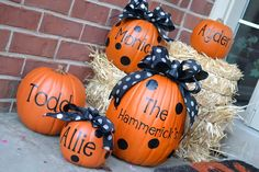 Monogrammed pumpkins for Halloween decor