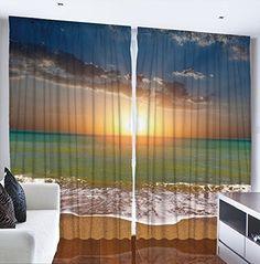 Ocean Beach Sunset Scene Digital Graphic Technology Printed Curtain Panel Set Livingroom Dining Room Den or Bedroom Drapes Tropical Design Theme Window Drapery Covering Treatment, http://www.amazon.com/dp/B010RTGA2A/ref=cm_sw_r_pi_awdm_pWE1wb5AJ18KP
