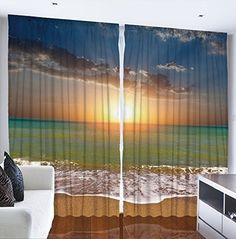 Ocean Beach Sunset Scene Digital Graphic Technology Printed Curtain Panel Set Livingroom Dining Room Den or Bedroom Drapes Tropical Design Theme Window Drapery Covering Treatment, http://www.amazon.com/dp/B010RTGA2A/ref=cm_sw_r_pi_awdm_pWE1wb5AJ18KP