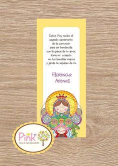 First Communion Favor Cards Virgensita Plis by PinkCajasyTarjetas