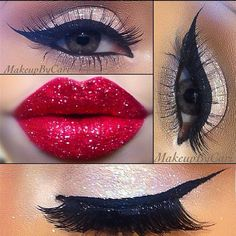 Perfect cat eye and sparkly, red lips