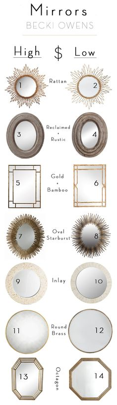 I love to add a mirror with an unexpected shape to smaller spaces like a powder room. But in layered designs, like the Cadiz living room, I used an oversized round brass mirror for a minimal look with a large impact. It opened up the room, making it feel larger. The the right mirror, is the perfect finishing touch. Today, I've picked several fun options for you to browse for your designs. See below for my splurge and save mirror picks. Have a wonderful Tuesday!