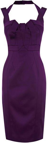 Karen Millen Satin Dress in Purple