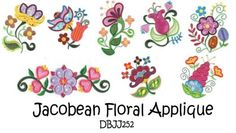 Jacobean Floral Applique Machine Embroidery Designs | Designs by JuJu