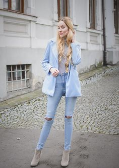 Discover this look wearing Lightinthebox Coats - Baby blue by mrsperfect styled for Natural, Brunch in the Spring Light Blue Aesthetic, Sunday Outfits, Blue Coats, Girl Fashion, Womens Fashion, Jeans Style, Baby Blue, Winter Fashion, Street Style