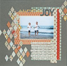 Summer Joy - Scrapbook.com by Jenny41180  ♥♥♥ those diamonds (Pink Paislee Prairie Hills Hilltop paper - have this in 6x6 pad)