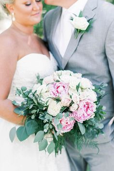 Pink and white bridal bouquet filled with peonies and roses and ferns for classic Outer Banks wedding during COVID19 #bouquets #bride #bridal #bouquet #flowers #floral #weddingflowers #peonies #weddingideas #weddings Wedding Guest List, Our Wedding Day, Dream Wedding, Wedding Bridesmaid Dresses, Wedding Bouquets, Outdoor Ceremony, Ceremony Arch, Floral Wedding, Wedding Flowers