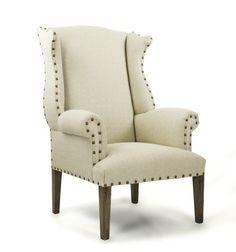 Wing Back Chair w/Nail Head Trim