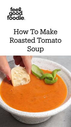 Soup Recipes, Whole Food Recipes, Vegetarian Recipes, Dinner Recipes, Cooking Recipes, Healthy Recipes, Roasted Tomato Soup, Vegan Tomato Soup, Vegan Soup