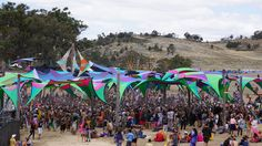 Funcktion Forms shade structure over Rainbow Serpent Festival 2015 main stage on Sunday arvo