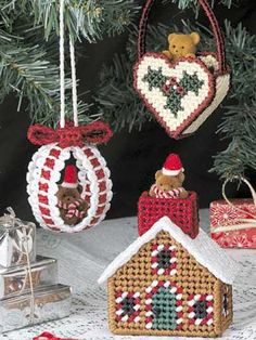 Plastic canvas Christmas ornaments