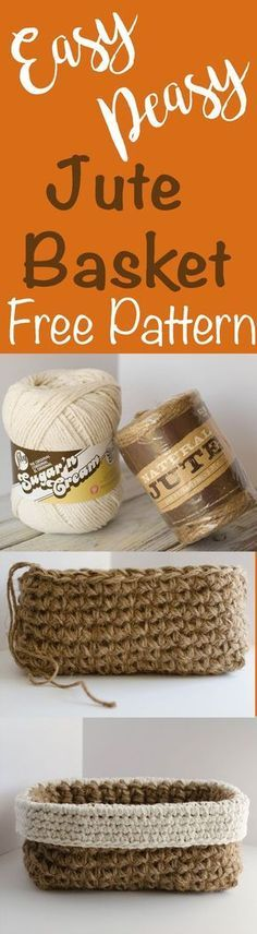 Fun and free Crochet Jute Basket Pattern. Easy. Fun. Free. Quick and inexpensive to make!