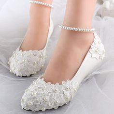 a1d06f6807c2 Low wedges heels womens summer spring wedding shoes ivory lace flower ankle  bracelet sexy bridal brides bridesmaid shoe XNA 257-in Women s Pumps from  Shoes ...
