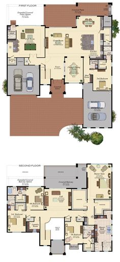 GL Homes 5 bedroom 2 story one bedroom on first floor and other bedrooms on second floor. Bedroom House Plans, Dream House Plans, Modern House Plans, Modern House Design, House Floor Plans, Dream Home Design, My Dream Home, Modern Mansion, House Blueprints