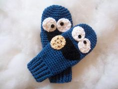 Cookie Monster Mittens By Suzi44 - Purchased Crochet Pattern - (craftsy)