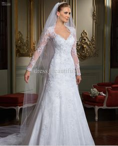 Wholesale A-Line Wedding Dresses - Buy 2014 Best-selling A-Line Backless Wedding Dresses Long Sleeves V-Neckline Sheath Lace Mermaid Court Train Tulle Appliqued Wedding Gowns, $168.0 | DHgate