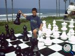 Outdoor Chess set - pieces made from recycled milk cartons.