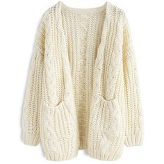 Chicwish Warm Your Heart Cable Knit Longline Cardigan in Off-White ($52) ❤ liked on Polyvore featuring tops, cardigans, white, white top, cardigan top, heart cardigan, cableknit cardigan and white cardigan