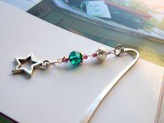 Check out Handmade Beaded Bookmark - Silver Star Charm with Emerald Swarovski crystal bead, Teacher gift on vitezartglassdesign
