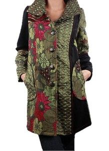 Mixed Media Silky Patchwork French Style Ornate Jacket Coat | eBay