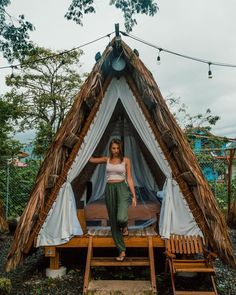 Wanderlust vibes all day erryday. that_s the kinda life we_re all chasing after right_ Selina La Fortuna Costa Tiny House Cabin, Cabin Homes, Bamboo House Design, Jungle House, Cool Tree Houses, Tree House Designs, A Frame House, Pergola Plans, Diy Pergola