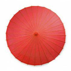 Color Paper Parasol Umbrella - Medium Red