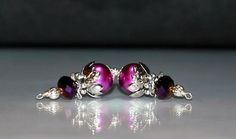 2 Fuchsia and Magenta Glass Pearl Dangles - 10mm Glass Pearl Bead Dangles by goldcountrydangles on Etsy