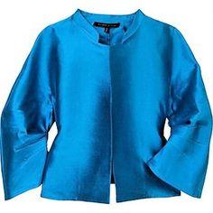 Alessandro Dell'Acqua 100% Silk Shantung Sky Blue Band Collar Jacket 6 Medium