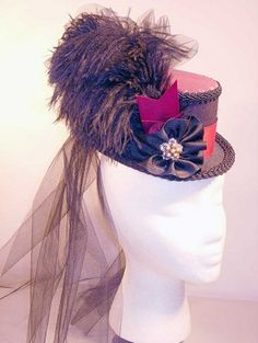 Mauve-Burgundy-Black Victorian Top Hat or Steampunk Hat