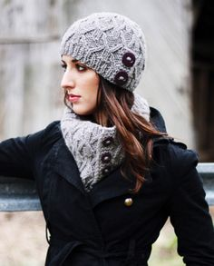 """Ingrid Hat & Cowl in Caledon Hills Chunky Wool 