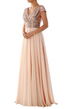 44d46f5f0c Cheap Rose Gold Sequins Top Long Chiffon Beach 2019 Bridesmaid ...