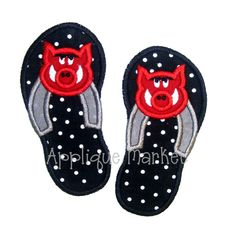 Machine Embroidery Design Applique Flip Flops Hog by tmmdesigns, $4.00