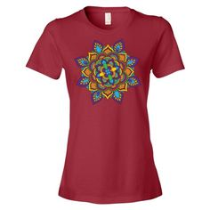 Colorful Mandala Ladies Ringspun Fashion Fit T-Shirt