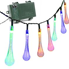Vmanoo Battery Operated Optional Automatic Timer String Lights 30 LED Water Drop Fairy Christmas Lighting Decor with 5 Modes For Outdoor Indoor Garden Patio Bedroom Wedding Decorations Multi Color ** You can get additional details at the image link. (Note:Amazon affiliate link)