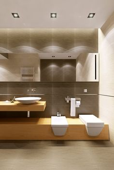 Bathroom - Modern sculpted simplicity , highly original with cleverly chosen elements/decor.  Combining a mixture of wood, stone, glass  metal in an artfully constructed minimalist design.  Uber stunning.