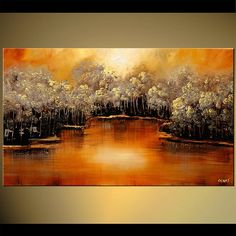Orange Landscape Blooming Trees Painting River Abstract Modern Acrylic by Osnat…