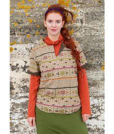 """Gudrun Sjödén Bluse """"Edda"""" aus Leinen/Baumwolle Ebenso kontrastreich wie die isländische Natur ist unser außergewöhnliches Muster """"Edda"""". Die Kurzarmbluse mit offenem, kontrastierend unterlegtem Ausschnitt lässt sich prima solo wie auch über einem Trikotshirt tragen."""