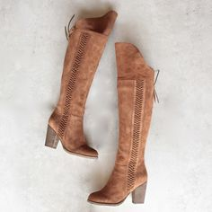 sbicca - gusto - tan over the knee suede leather boots - shophearts - 1 High Heel Boots, Heeled Boots, Bootie Boots, High Heels, Over The Knee Boot Outfit, Over The Knee Boots, Leather Ankle Boots, Suede Leather, Leather Sandals