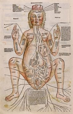 Ilustração de uma mulher grávida em um dos Tratados médicos que compõe o Códex Paneth.Figure of a pregnant woman, a woodcut with hand color, is from Fasciculus Medicinae, one of the first printed medical books with anatomical illustrations. This collection of medical treatises was published in Venice in 1491.