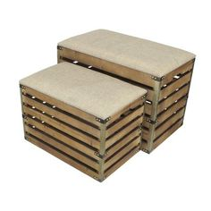 Gracie Oaks Probst Rectangular Slat Storage 2 Piece Bench Set with Metal Accent and Cushioned Lid