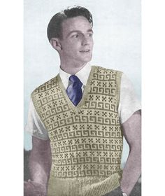 1940s Knitting Pattern for Mens Fair Isle Pullover by Interbellum