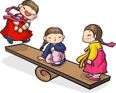 어린이-전통놀이-연날리기, 윷놀이, 널뛰기