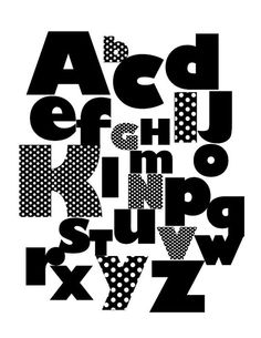 B and W Alphabets