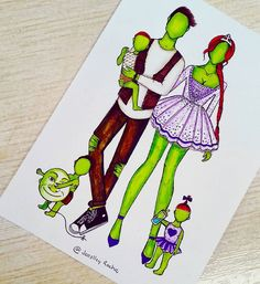 Shrek [also as a balloon], Fiona, Farkle, Fergus & Felicia [all as humanoid ogres] (Drawing by JoeslleyRocha Cute Disney Drawings, Kawaii Drawings, Cute Drawings, Pencil Art Drawings, Art Drawings Sketches, Arte Naturalista, Creation Art, Dibujos Cute, Fashion Design Drawings