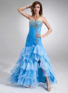 Prom Dresses - $168.99 - Trumpet/Mermaid Sweetheart Floor-Length Organza Satin Prom Dress With Beading Split Front Cascading Ruffles (018016726) http://jjshouse.com/Trumpet-Mermaid-Sweetheart-Floor-Length-Organza-Satin-Prom-Dress-With-Beading-Split-Front-Cascading-Ruffles-018016726-g16726