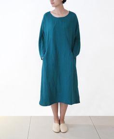 Women's Dress Cotton Linen Dress,Loose Casual Dress Tunic Long Sleeve Cyan by lanbao on Etsy https://www.etsy.com/listing/202413970/womens-dress-cotton-linen-dressloose